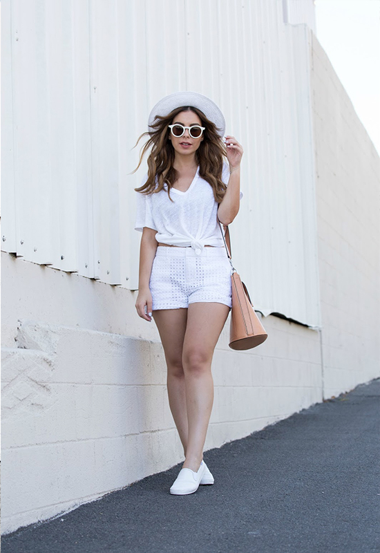 White T-Shirt, White Shorts